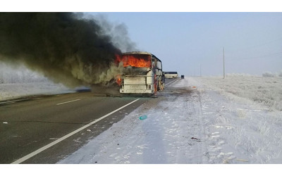 Using petrol to fuel open fire could be cause of deadly bus fire in Kazakhstan