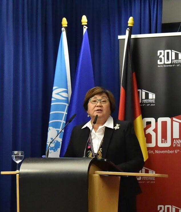 Roza Otunbayeva addresses Berlin Wall 30 - From the Divided to the City of Freedom