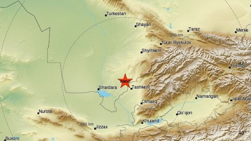 Earthquake Recorded On Border With Kazakhstan Felt In Uzbekistan - Olmaliq map